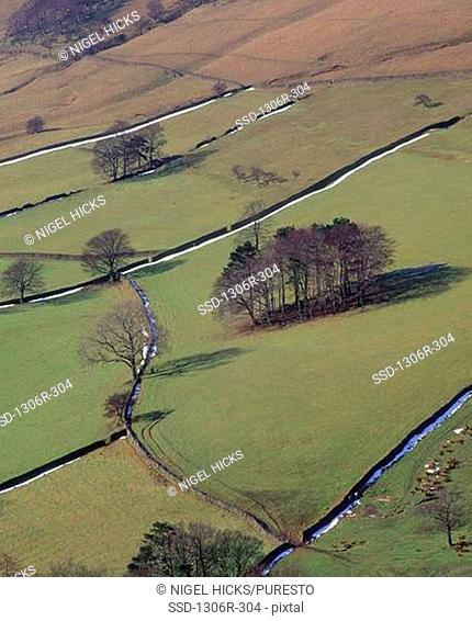 High angle view of Edale, Peak District National Park, England