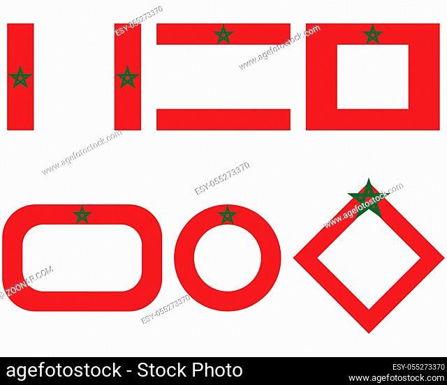 Fahnen von Marokko mit Textfreiraum - Flags of the Morocco with copy space