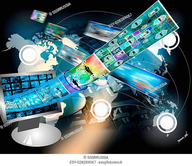 Many abstract images on the theme of computers, Internet and high technology