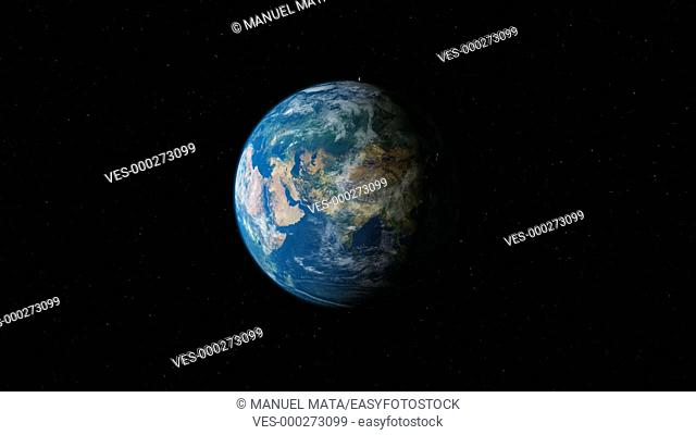 Earth planet gyrating high to slow