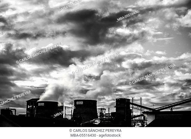 industrial smoke from chimney, Asturias, Spain