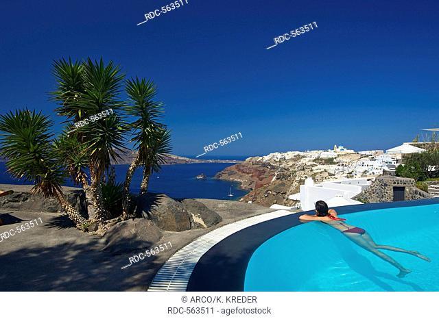 Woman, Perivolas Hotel in Oia, Santorini, Cyclades, Greece MR