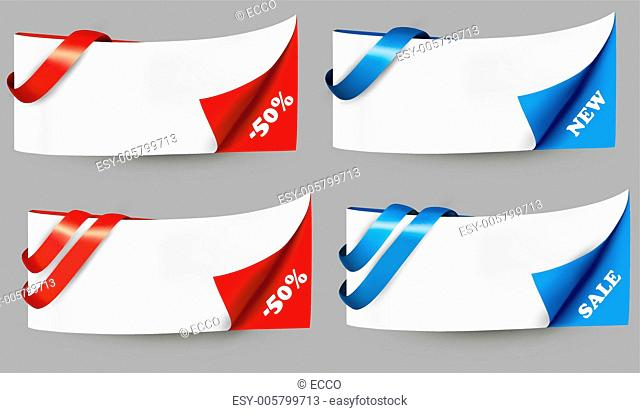 Red and blue sale banners with ribbons. Vector