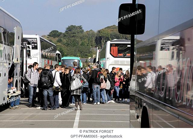SCHOOL BUS OUTING, 41ST OLYMPIAD OF METIERS IN BRITTANY, BREST, FINISTERE 29, FRANCE