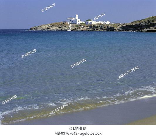 Greece, western Kykladen,  Island Sifnos, cloister Moni tis,  Chrissopigis Europe, southeast Europe, Kykladeninsel, coast, rock coast, rocky, bay, headland, sea