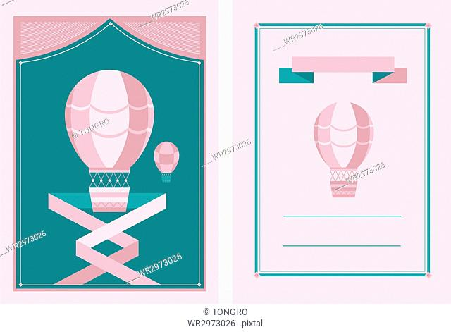 Invitation cards with air-hot balloons
