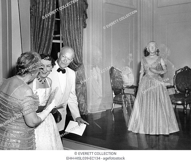 President and Mrs. Eisenhower attend the opening of the First Ladies' Hall of the Smithsonian Institution. May 24, 1955. At right is the First Lady's 1953...