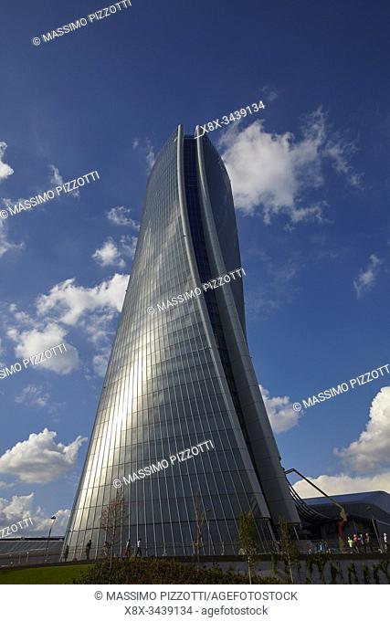 The moder architecture of Generali Tower in the Citylife district , Milan, Italy