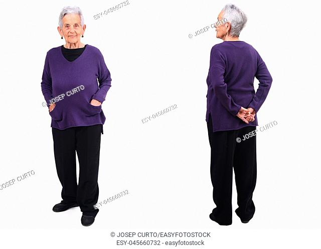 front and back senior woman on white
