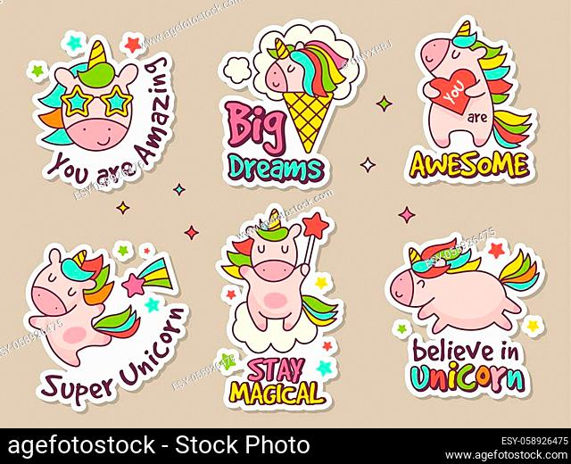 Unicorn badges. Fashion labels set or stickers with fairytale characters vector retro objects set. Unicorn rainbow, patch magic fairytale illustration