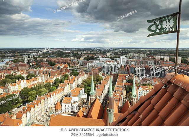 A view on Gdansk old town from St Mary's basilica tower, Poland