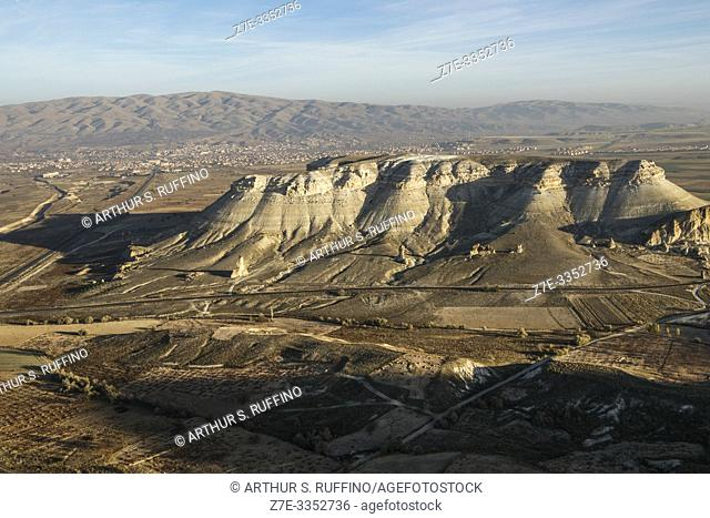 Landscape of Cappadocia, view from hot air balloon, Turkey