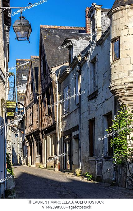 Narrow Old Town Street with Cobble Stone (Rue Voltaire) of Chinon. Indre-et-Loire, Central Region, Loire Valley, France, Europe