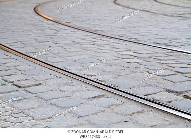 Straßenbahnschienen in der Münchner Innenstadt