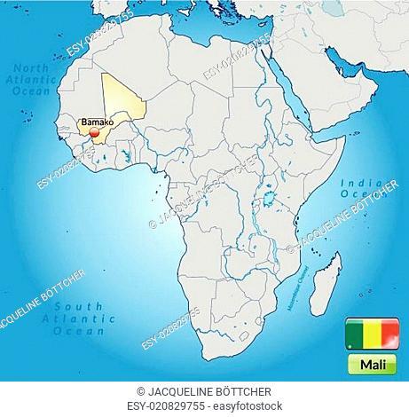 Umgebungskarte von Mali mit Hauptstädten in Pastelorange
