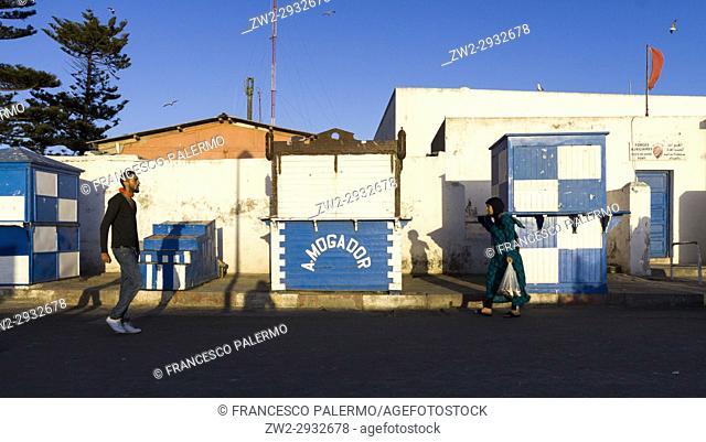 Fish market stall after work day. Essaouira, Marrakech-Safi. Morocco