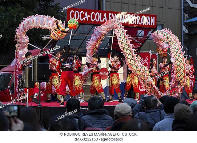 February 11, 2019, Yokohama, Japan - A dragon dance troupe performs during the Lunar New Year celebrations at Yokohama's Chinatown