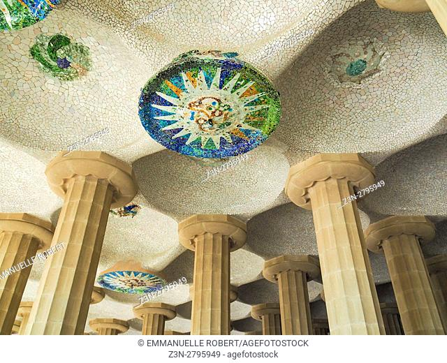 Parc Güell Garden complex with architectural elements Designed by the Catalan architect Antoni Gaudí, Spain, Europe