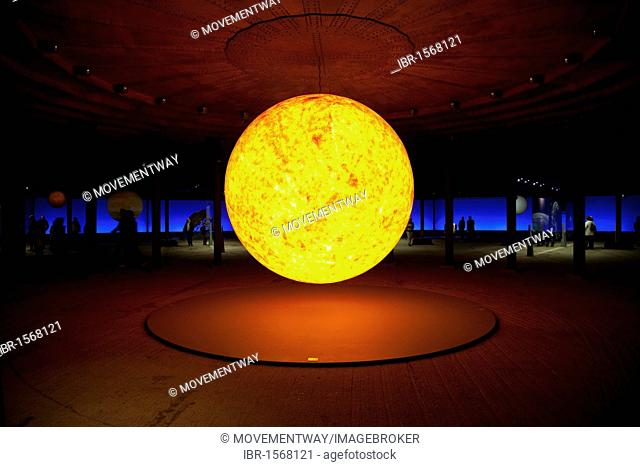 Sun sculpture, three-dimensional representation of the sun in the exhibition Sternstunden, wonders of the solar system, Gasometer, Oberhausen, Ruhr Area