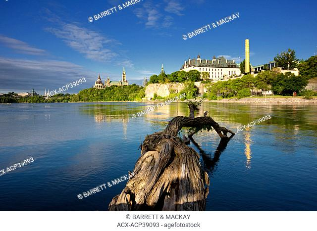 View of Parliament Hill from Victoria, Island, Ottawa River, Ottawa, Ontario, Canada