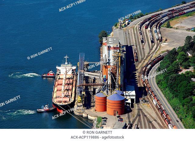 aerial, grain loading terminal, Vancouver, BC