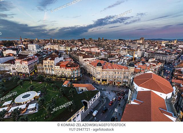 Lisbon Square seen from bell tower of Clerigos Church in Porto, second largest city in Portugal