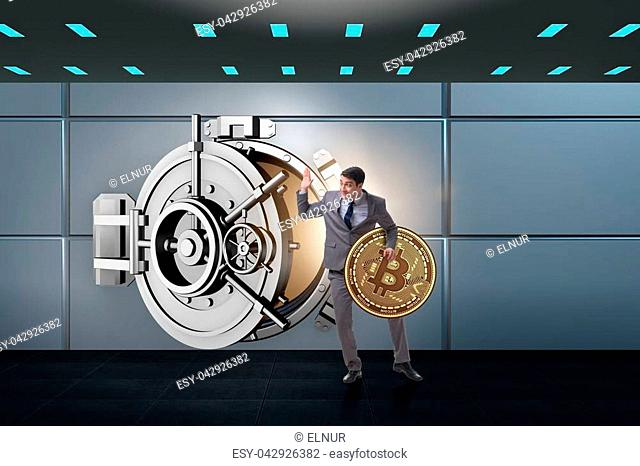 Man stealing bitcoin from bank