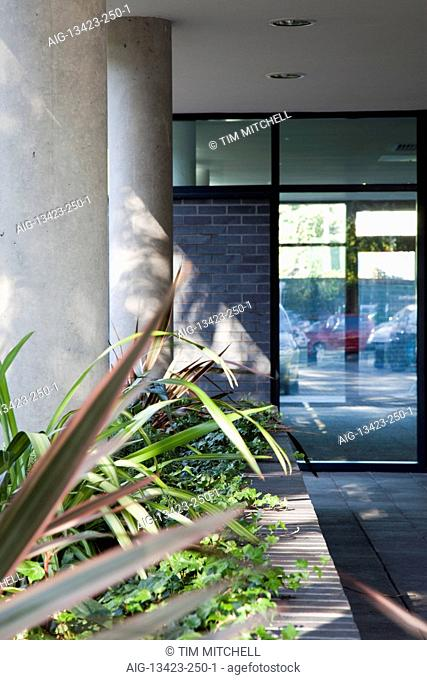 Plants in entrance at The Sidings, Office space and residential apartments, Hampton Wick