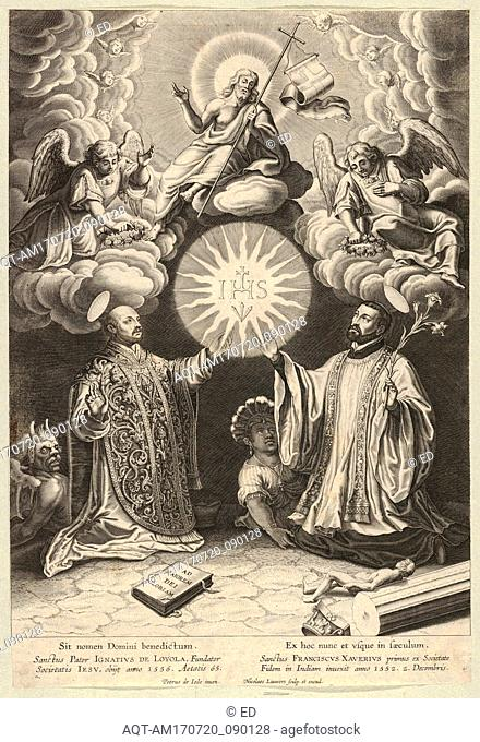 Drawings and Prints, Print, Christ, Ignatius of Loyola and Francis Xavier, Artist, Publisher, After, Pieter de Jode I, Nicolaes Lauwers, Nicolaes Lauwers