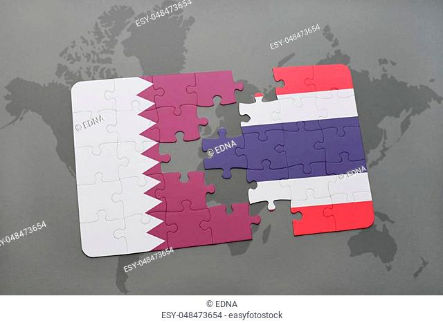 puzzle with the national flag of qatar and thailand on a world map background. 3D illustration