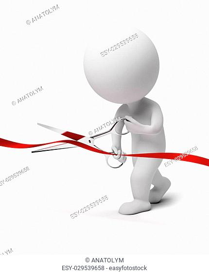 3d small people scissoring a red tape. 3d image. Isolated white background