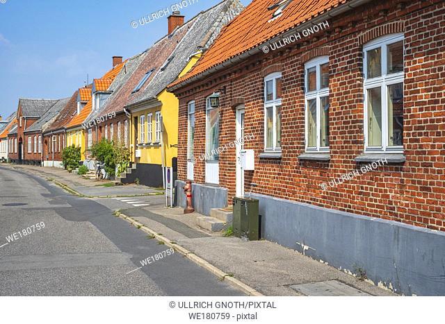 Impressions from a side street in Stege, Moen Island, Denmark, Scandinavia, Europe. Impressionen von einer Nebengasse in Stege, Insel Mön, Dänemark
