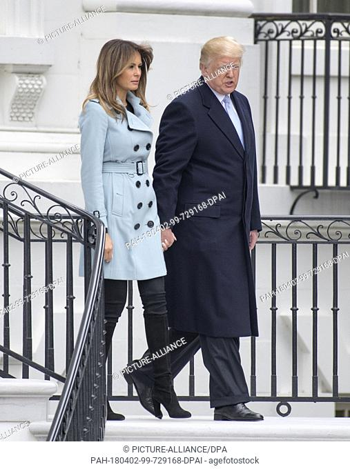 United States President Donald J. Trump and first lady Melania Trump walk from the balcony as they host the annual White House Easter Egg Roll on the South Lawn...