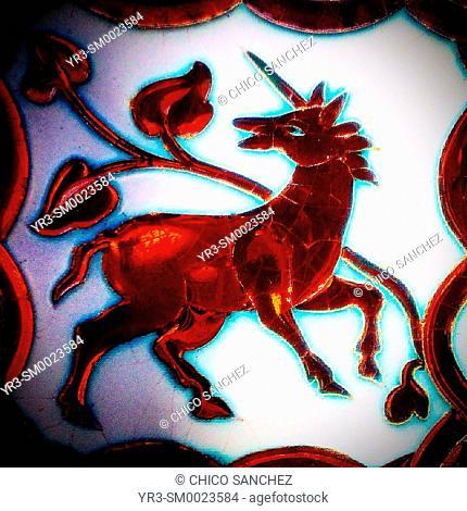 An unicorn decorates a ceramic tile in Algodonales, Sierra de Cadiz, Andalusia, Spain