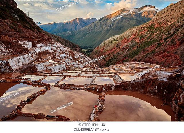 View of salt terraces, Maras, Cusco, Peru