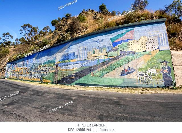 Modern patriotic mural along the road between Asmara and Keren; Emba Derho, Central Region, Eritrea