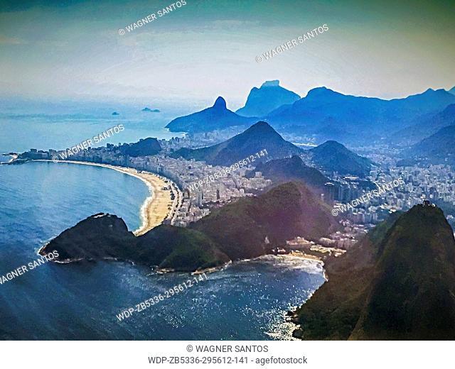 Aerial view of Copacabana Beach Rio de Janeiro