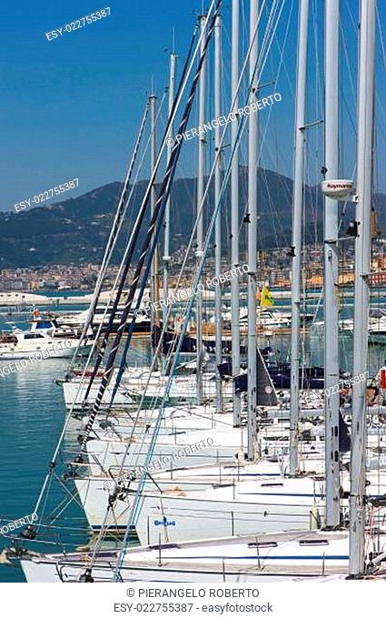 yachts and motor boats moored in Marina D'Arechi