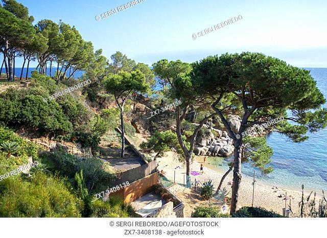 Platja d'Aro. Cala del Pi beach in Costa Brava. Cami de ronda. Girona province. Catalonia. Spain