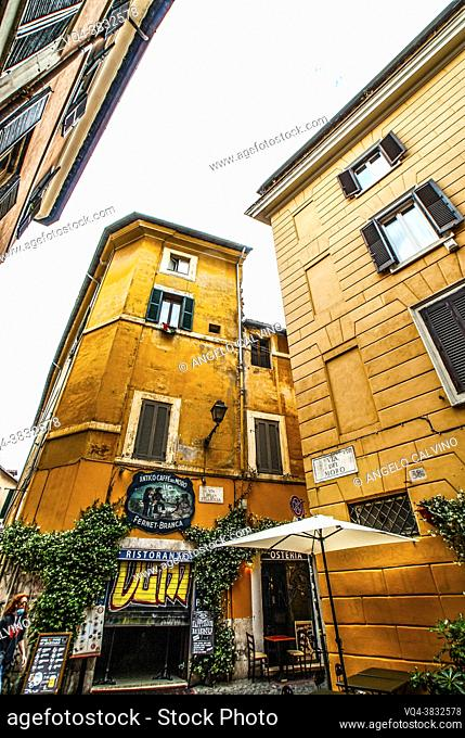 Cozy old streets in Trastevere in may 2021, Rome, Italy. Trastevere neighborhood of Rome, on the west bank of the Tiber, architecture and landmark of the city...