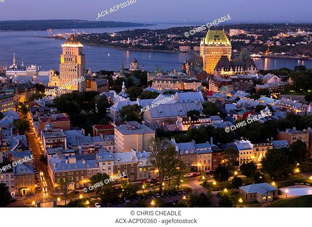 High viewpoint twilight view of Vieux-Quebec and Vieux-Port. the old sections of Quebec City, Quebec, Canada
