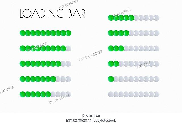 loading bars with green circles on the white background