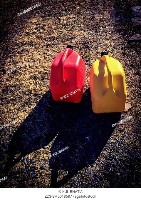 Yellow and red fuel cans