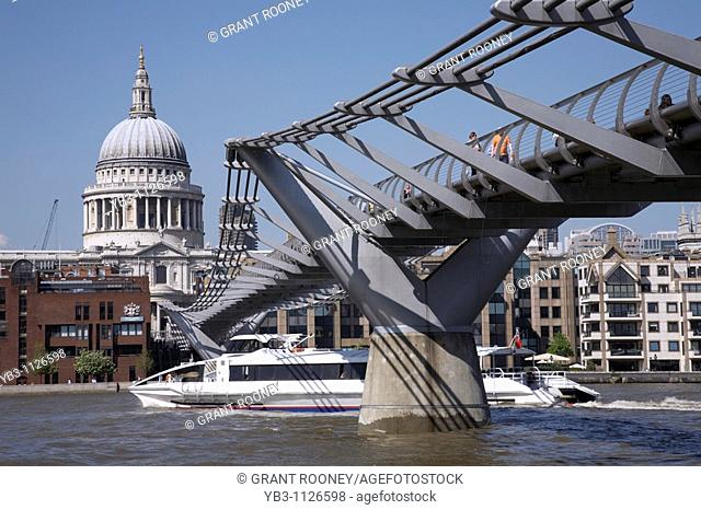 St Pauls Cathedral and the Millennium Bridge , London , England