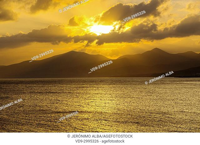 Landscape at sunset, Puerto del Carmen. Lanzarote Island. Canary Islands Spain. Europe