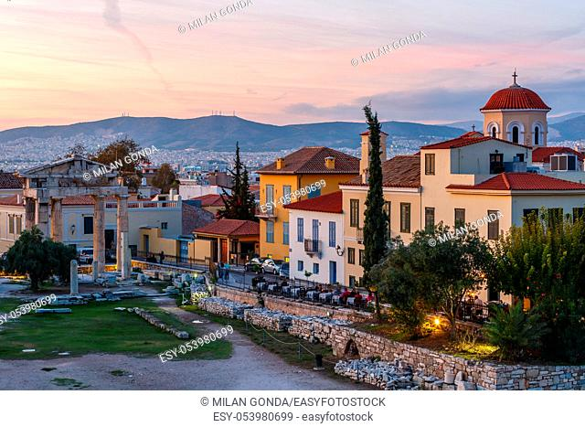 Remains of Roman Agora in the old town of Athens, Greece