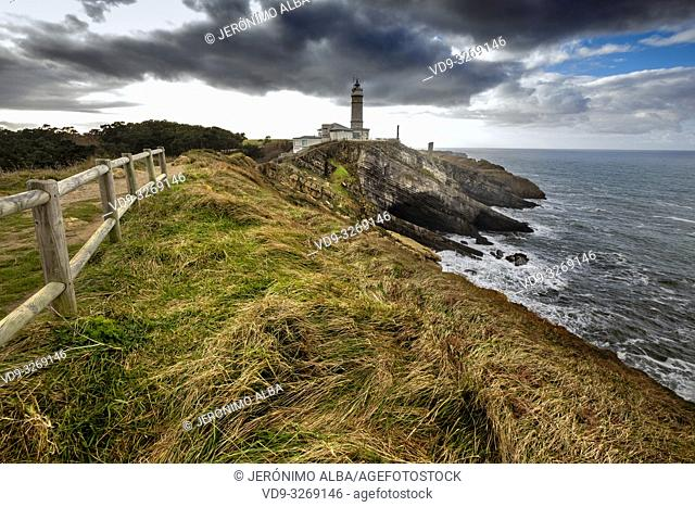Panoramic view. Viewpoint Lighthouse of Cabo Mayor. Santander coast and Cantabrian Sea. Cantabria, Spain. Europe