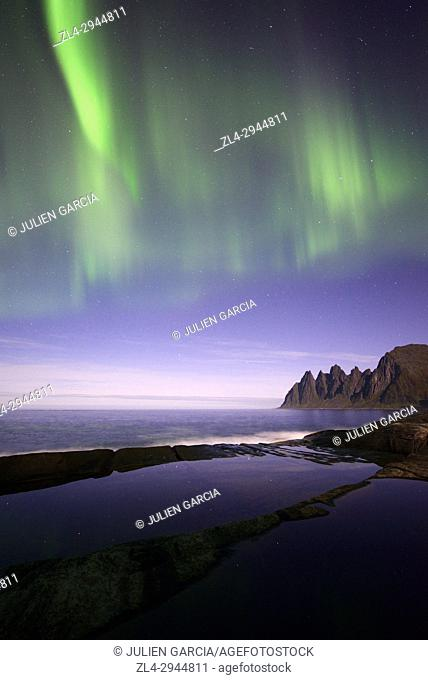 Norway, Troms County, north of the Arctic Circle, Senja island between Tromso and the Lofoten islands, Tungeneset coastline, Devil's Teeth
