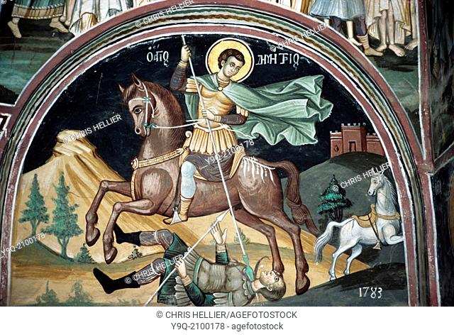 Saint Demetrius of Thessaloniki Fresco (1783) Xeropotamou Monastery Mount Athos Greece