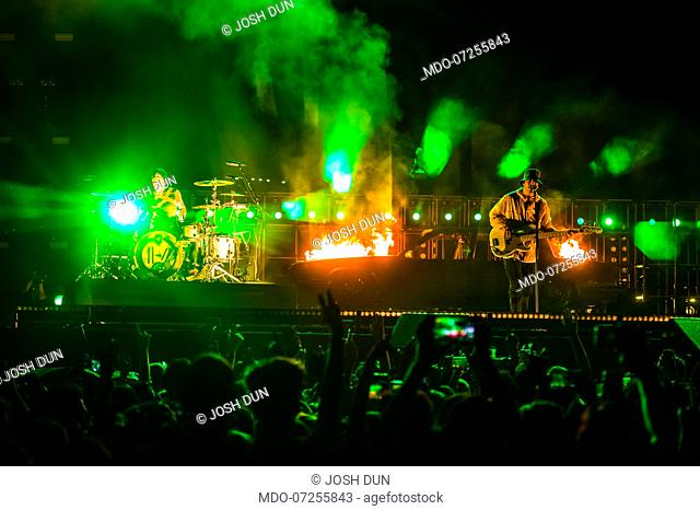 American band Twenty One Pilots formed by Tyler Joseph and Josh Dun performs live on stage at Milano Rocks festival. Milan (Italy), August 31st, 2019